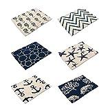 HACASO Ocean Creatures Pattern Cotton Linen Placemats Set of 6 Kitchen Dining Table Mats(6)