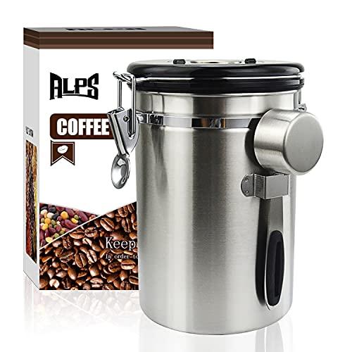 コーヒー キャニスター 304ステンレス コーヒー豆 茶筒 お菓子 糖 香料 日付表示ダイヤル 防湿保存 密封容器 (シルバー, 1800ml, 0.56kg)