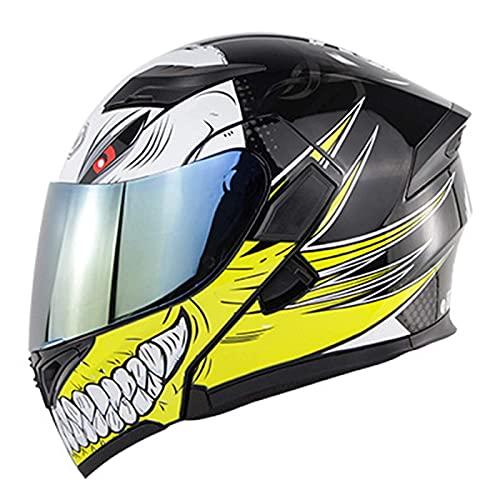 Casco de moto, casco de motocicleta con visera solar de doble capa, ECE / DOT aprobado Casco de motocicleta con racición de racición completa Casco de forro extraíble para hombres Mujeres ATV MTB