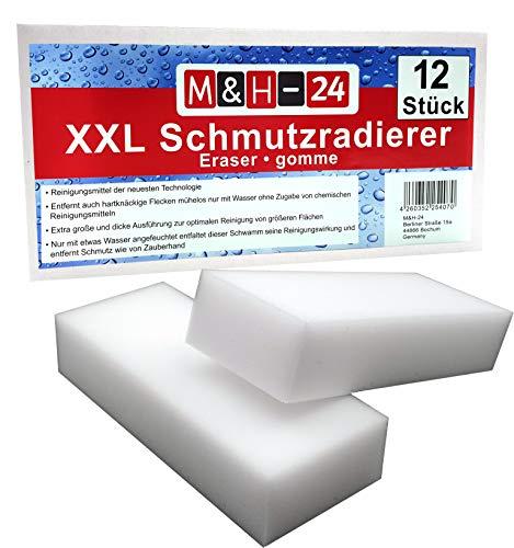 M&H-24 Schmutzradierer Schwamm Premium XXL Groß - Radierschwamm Wunderschwamm Zauberschwamm Reinigungsschwamm für Wand Tapete Schuhe Fußboden 125 x 65 x 30 mm, Weiß 12 Stück