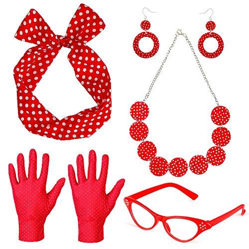 Beelittle 50's Damen Kostüm Accessoires Set Polka Dot Bandana Krawatte Stirnband Ohrringe Halskette Handschuhe Retro Cat Eye Eglasses (Rot)