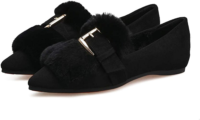 FLYRCX Chaussures Simples Pointues Chaussures de Coton Confortables Bas Confortables Chaussures Dames