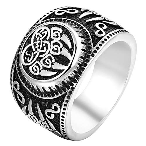 YANGFJcor Retro Norse Viking Men 316L Stainless Steel Wolf Paw Vantage Ring Jewlery,Celtic Knot Pagan Slavic Bear Claw Rune Biker Berserker Signet Ring Size 7-13,7