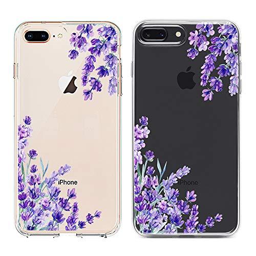 Obbii Clear Case for iPhone 8 Plus/7 Plus/6 Plus/6S Plus Purple Lavender Unique Design Hard Shell Solid PC Back Soft TPU Bumper Protective Case for iPhone 7 Plus/8 Plus/6 Plus/6S Plus(5.5')