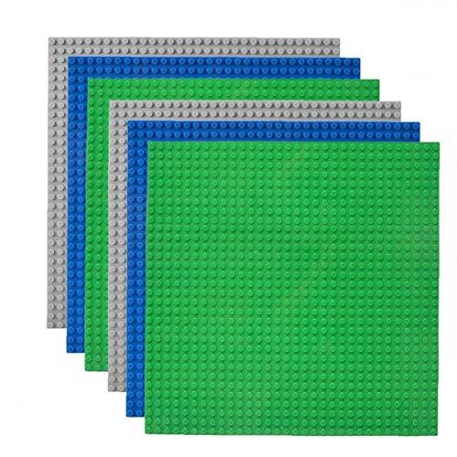 shentaotao Placas Base Placa Base clásica Blue Board Greeb Edificio Gris Regalo de los Juguetes compatibles con Ladrillos Mayor Marca Configurar para niños 6PCS