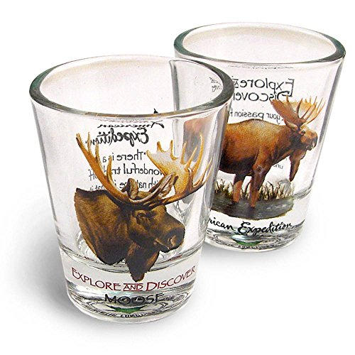 American Expedition Set of 2 Shot Glasses (Moose)