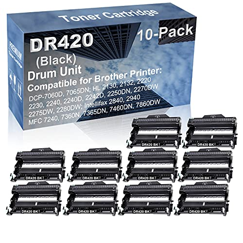 10-Pack Compatible Drum Unit (Black) Replacement for Brother DR420 DR-420 Drum Kit use for Brother Intellifax-2840, Intellifax-2940; MFC-7240, MFC-7360N, MFC-7365DN, MFC-7460DN, MFC-7860DW Printer