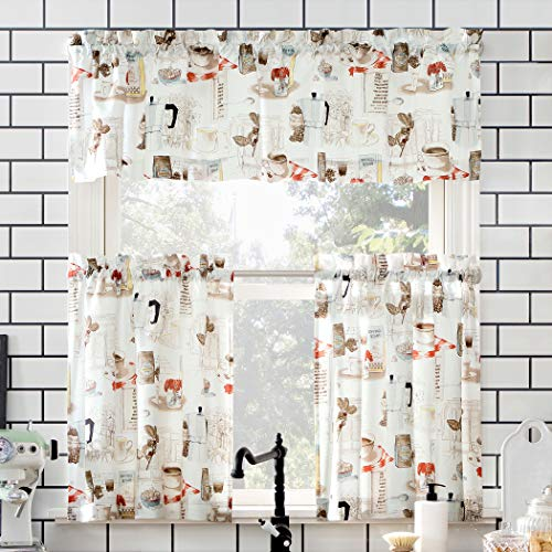 "No. 918 Brew Coffee Shop Semi-Sheer Rod Pocket Kitchen Curtain Valance and Tiers Set, 54"" x 24"" 3-Piece, White"