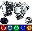 Ein Paar Motorrad Scheinwerfer Zusatzscheinwerfer Nebelscheinwerfer Scheinwerfer 12V Mini U7 Angel Eyes Licht (Weiß)
