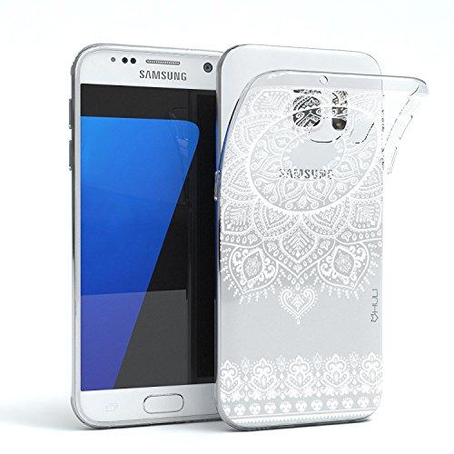 HULI Design Hülle Hülle für Samsung Galaxy S7 Smartphone im Orientalischen Muster weiß - Hülle aus TPU Silikon - Schutzhülle mit orientalischem Mandala Henna Ornament - Handyhülle mit Druck