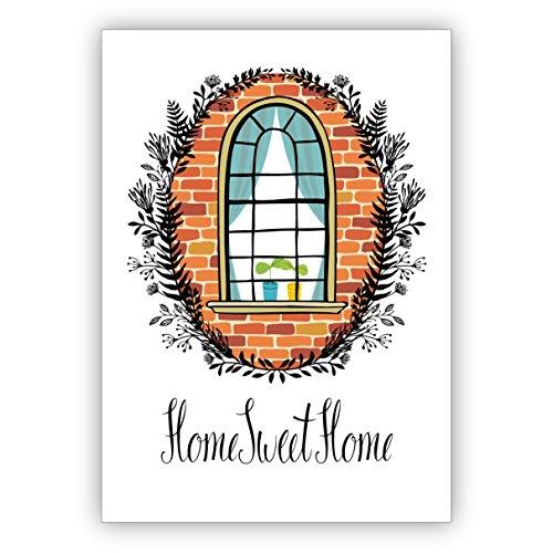 Edele wenskaart om te verhuizen, de nieuwe woning, naar eigen huis: Home sweet home • individuele vouwkaart met envelop om te feliciteren, cadeau te geven 1 Grußkarte
