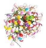 Zhichengbosi Lot de 100 mini champignons en mousse pour décoration de jardin, Métal, Multicolore., 2 x 1.6 cm/0.79 x 0.63 inches