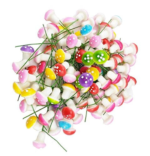 Confezione da 100 mini funghi in schiuma per decorazioni da giardino metallo Rosso. Zhichengbosi vasi di fiori bonsai