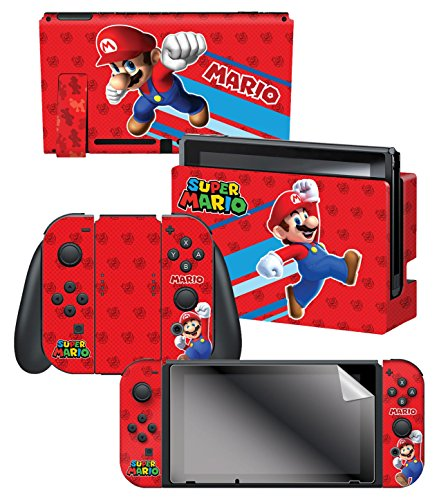 """Controller Gear Nintendo Switch Skin & Screen Protector Set, Officially Licensed By Nintendo - Super Mario Evergreen """"Super Mario"""" - Nintendo Switch"""