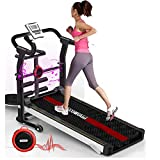 Manual Treadmill 6-in-1, with APP Monitoring, Wireless Speaker, Sit-ups Pannel, T-Twisting Machine, Waist Training Tray, Draw Rope Mechanical and Massage Wheel with Tablet Stand.