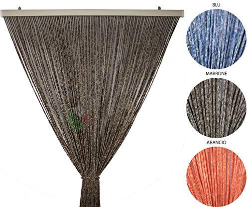 Tenda Antimosche per Porta Finestra Moschiera a Pannello Modello Gabry in Corda di Poliestere Resistente Misura 120 x 220 cm Colore Marrone