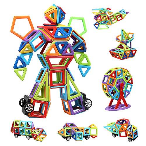 infinitoo Blocs Construction Magnétiques | 109 Pièces Mini Jeux de Construction Magnetique Colorée 3ère-Version | Idéal Cadeau pour Bébé à Partir de 3 Ans (109pcs)