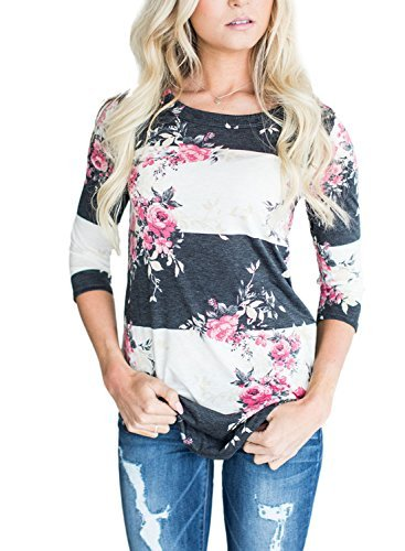 Asvivid Women's Round Neck Floral Print 3 4 Sleeve Tunic Blouse Casual Striped Tunic Tops Large Pink