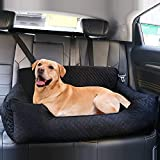 Dog Car Seat for Large Dog Under 70 lbs or 2 Small/Medium Dogs, Pet Booster Back seat Bed for Travel Safety with Storage Pocket,Soft Fabric and Non-Slip Base,Detachable and Easy to Clean(Black-L)