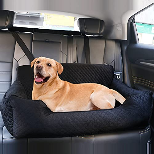Dog Car Seat for Large Dog Under 70 lbs or 2 Small/Medium Dogs, Pet Booster Back seat Bed for Travel Safety with Storage Pocket,Soft Fabric and...