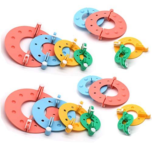 Pom Pom Maker,Xiuyer 2 Set 4 Taglie Pompon Makers Fluff Sfera Weaver Tool Kit per Fai da Te Artigianato Doll Mestieri di Tessitura Decorazione(3.5cm 5.5cm 7cm 9cm, 16 Pezzi)
