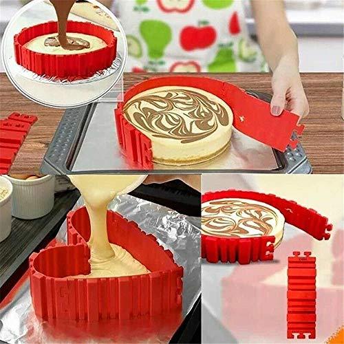 ZGBQ 3D Puzzle Baking Shaper Silikon Kuchenform vierteilige Bake Snake herzförmige kostenlose Kombination DIY Kuchenform (1 Satz von 4)