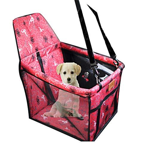 PYY Tragbarer Haustierhund des Hundeautositzes Booster Kindersitz mit Clip-On-Sicherheitsleine und Hundedecke,Geeignet für Hunde bis 30 kg,40 * 32 * 24 cm,Redspider