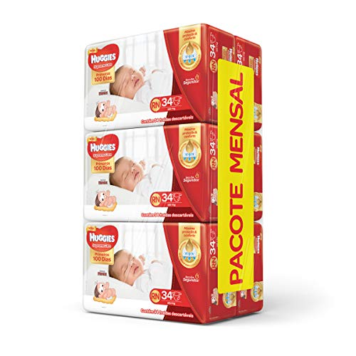 Huggies Pacote Mensal Supreme Care Mega RN, 204 Fraldas