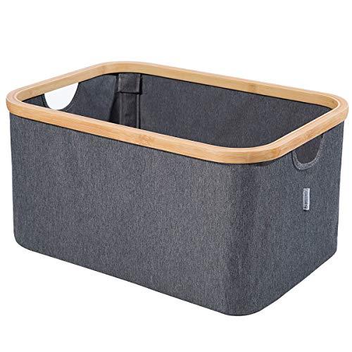 BamBooBox Faltbarer Aufbewahrungskorb - Moderne Aufbewahrungsbox aus Bambus - Faltbare Ordnungsbox für Bad, Wäschekorb, Spielzeugkiste, Kofferraum