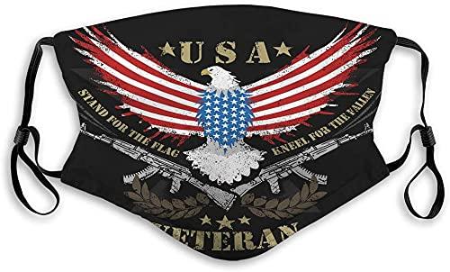 Hirola Escudo bucal transpirable reutilizable al aire libre águila América ejército soldado ilustraciones águila EE.UU. bandera y ametralladora ilustraciones