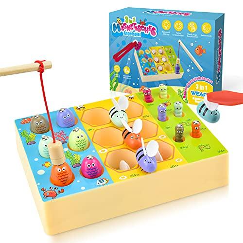 WEARXI 3 in 1 Motorikspielzeug, Montessori Spielzeug ab 1,2,3,4,5,6 Jahre Magnetische Angelspiel, Spiele ab 2 Jahre, Kinderspielzeug, Kleine Geschenke für Kinder, Baby Spielzeug Mädchen Junge