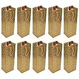 FOCCTS 10pcs Bolsos de Botella Nobles de Papel Bolsos de Regalo para Vino, Cava y Champán 36x12x10cm (Oro)