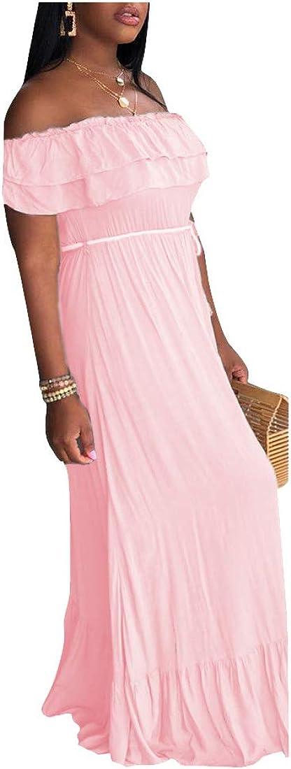 Uni Clau Womens Chiffon Off Shoulder Maxi Dress Sleeveless Color Block Pleated Casual Long Dresses