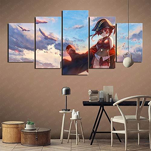 5 pinturas de portafolio de arte Anime girl big boobs ocean Art deco Art Deco Pinturas para cafetería Peluquería Pintura sin marco 150x80cm