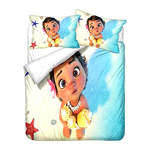 NICHIYO Moana Duvet Cover Bedding Set and Pillowcase Polyester Fibre Microfibre 3D Digital Print Three-Piece Bedding (Duvet Cover + Pillowcases) (06, Double 200 x 200 cm)