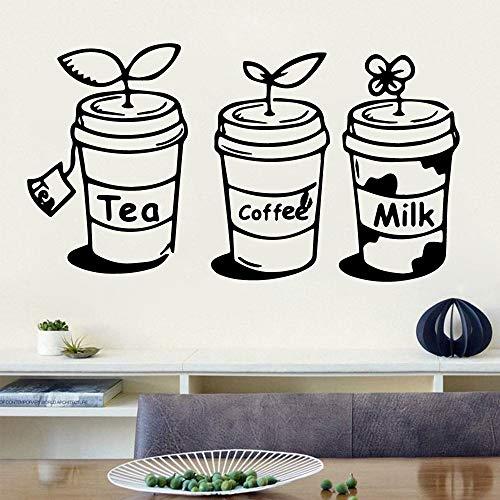 Tee koffie Mike muurkunst sticker huis decoratie keuken sticker voor kinderkamer decoratie muurtattoos 30 * 54cm zilver