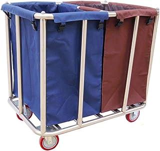 Hôtel Blanchisserie Sorter panier, Utilitaire de buanderie Chariot roulant avec 2 sacs amovibles, Rangement Lourds Chariot...