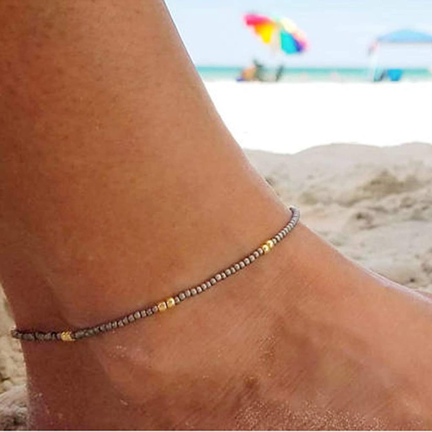 Yalice Minimalist Rice Beaded Anklets Colorful Seed Ankle Bracelet Beach Foot Chain for Women and Girls (Grey)