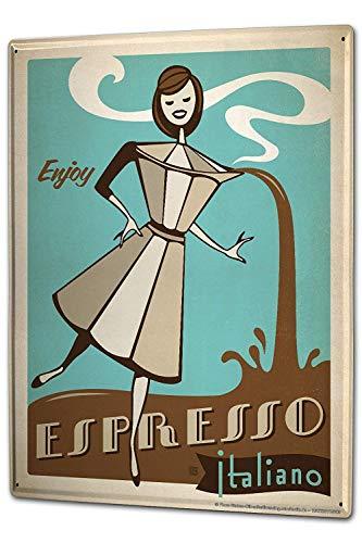 SIGNCHAT Coffee Cafe Bar Espresso koffiezetapparaat Italiaans vrouwen cartoon metalen tin bord 8x12 inches