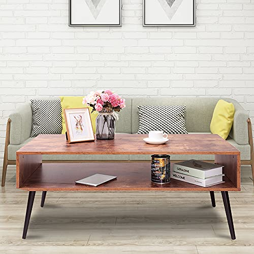 IWELL Mid Century Modern Coffee Table with Storage Shelf for Living Room, Boho Cocktail Table, TV Table, Rectangular Sofa Table, Office Table, Solid Elegant Functional Table, Rustic Brown