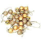 24 Piezas 6 Colores árbol de Navidad Colgante Brillo Ornamento Bolas Bolas Adornos Fiesta Boda decoración(Dorado)