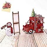 Sethexy - Biglietti di auguri 3D con pupazzo di neve, albero di Natale, Babbo Natale su auto, con buste, regalo di buon Natale per la famiglia, migliore amica, fidanzata e fidanzata