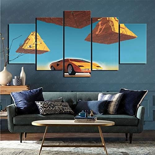 CELLYONE Art Print on Canvas Vehicle Supercar Countach Art Deco Applicable Study Hallway 150x80cm Frameless