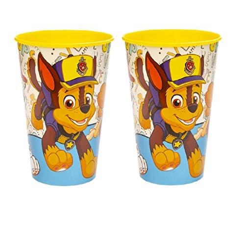 Familienkalender 2 vasos compatibles con la Patrulla Canina para niños, 250 ml, aptos para microondas con Chase, Rocky y Marschall, para niños, niñas, jóvenes, regalo, sin BPA, color amarillo