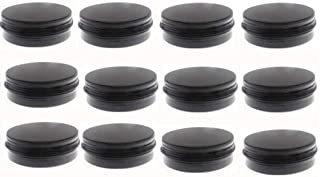 JKLcom 2 oz.Tins Black Aluminum Metal Tin Round Screw Top Lid Containers Jars Metal Storage Tin Jars Aluminum Tin Cans Travel Storage Tins,for Lip Balm DIY Cosmetics Salves,2 oz./2 Ounce/60 ML,12 Pack