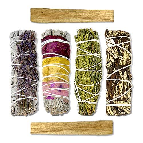 LIFE OF GAIA Sacred Sage Smudge Kit White Sage Bundles with Rose & Lavender, Cedar, Yerba Santa & Palo Santo Smudge Sticks in Gift Box. Variety of Incense Sticks for Cleansing