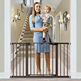 Cumbor 51.6-Inch Baby Gate Extra Wide, Easy Walk Thru Dog Gate for The House, Auto Close Baby Gates for Stairs, Doorways, Includes 2.75', 5.5' and 11' Extension Kit, Mounting Kit, Brown