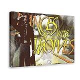 Póster vintage de la película de Danzas con lobos 02 Póster de lona para decoración de la sala de estar, dormitorio, marco de 50 x 75 cm