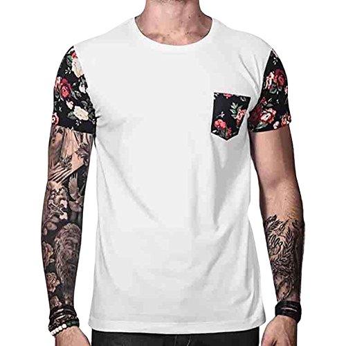 Camiseta de Verano para Hombres, Estampado de Flores de la Vendimia Camisa Patchwork con Bolsillo Informal Cuello Redondo Verano Blusa Casual Tops