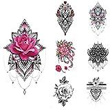 glaryyears 15 Sheets Henna Flower Temporary Tattoos for Women, Mandala Rose Fake Tattoo Stickers Waterproof on Wrist Arm Shoulder Underboob Body Art 4.7''x7.5''